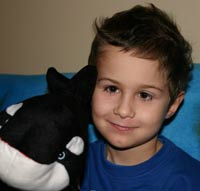 Christopher with Killy the Killer Whale on our way back from the London Aquarium